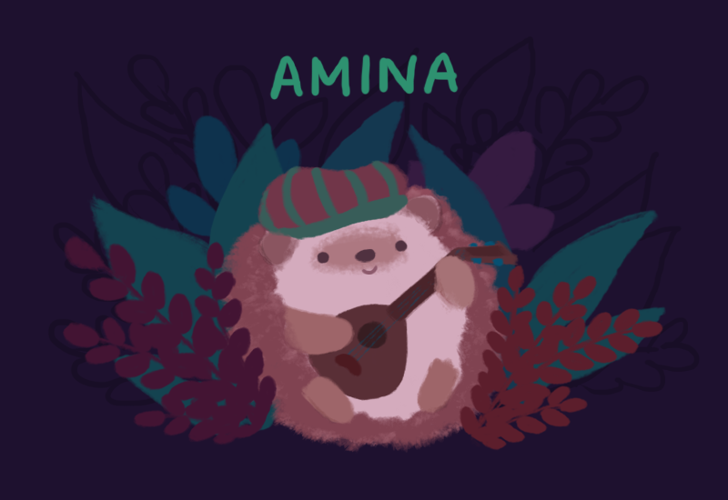 Text: Amina. Image: Amina, the pink hedgehog, sitting and holding a brown lute.