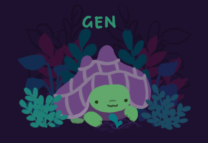 Text reads: Gen. Image: Gen, a green tortoise with a purple shell, keeping a small green sprout, standing in front of plants.
