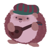 Amina the hedgehog, wearing a striped hat and playing a strummed-stringed instrument.