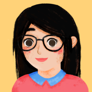 Illustration of CW; CW smiling, wearing black glasses, in front of a mustard-yellow background.