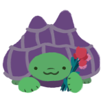 Gen the green, purple-shelled tortoise, smiling and holding pink flowers.