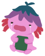 Xiaolong the axolotl, wearing an upside down flower hat, holding a book to her chest and crying loudly.