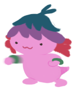 Xiaolong the axolotl, wearing jade bangles and punching the air with her right arm.