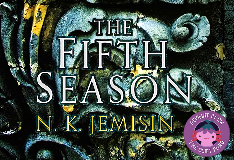 Text: THE FIFTH SEASON by N.K. Jemisin. Round 'button' on bottom-right showing