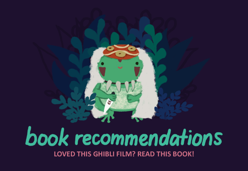 Text: Book Recommendations: Loved this Ghibli film? Read this book! Image: Varian the Toadshifter wearing San from Princess Mononoke's red mask, wearing a fluffy white cape, and holding San from Princess Mononoke's knife.