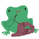 Varian the frog, smiling, sewing and holding a blouse.
