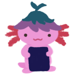 Xiaolong the pink axolotl, wearing an upside purple flower hat and holding a blue book.