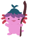 Xiaolong the Axolotl holding up a staff in one hand and giving you the thumbs-up with her other hand!