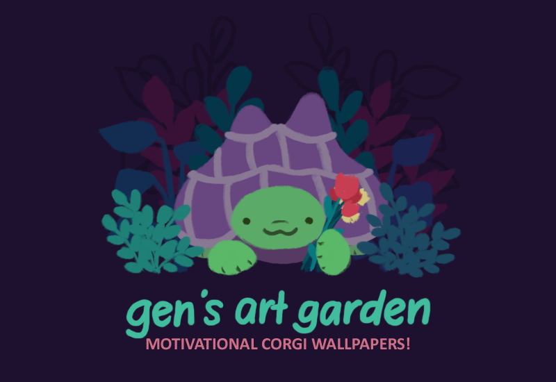 GEN'S ART GARDEN: MOTIVATIONAL CORGI WALLPAPERS. Gen the green tortoise with a purple shell, holding a bunch of red and yellow flowers and smiling at you.