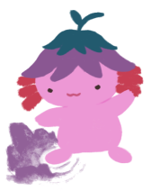 Xiaolong the axolotl, her arms raised by her sides, feet apart; her left foot has created the earth to tremor and rise (casting earth-magic).