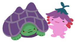 Gen the green tortoise, withdrawn into his purple shell, appearing shy, with Xiaolong the pink axolotl,wearing an upside down flower hat, consoling and smiling at Gen.