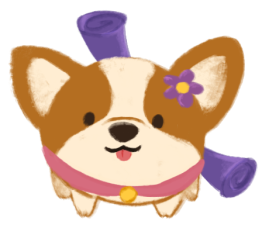 A small round and brown corgi, wearing a pink collar, and a scroll attached to its back.