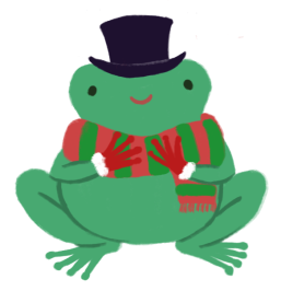 Varian the green Toadshifter, wearing a red and green stripped scarf, a deep purple top hat, and wearing red Santa gloves.