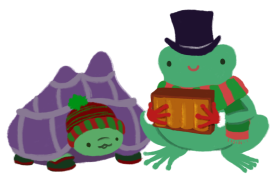 On the left, Gen the purple-shelled and green tortoise, wearing a red and green striped beanie and green and red boots, looking up at, on the right, Varian the green Toadshifter, wearing a tophat, red Santa gloves, and a green and red scarf, holding a magical box of books.