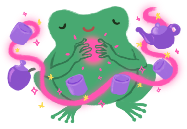 Varian the green Toadshifter, casting a pink spell, with four purple cups, one teapot, and one sugar pot floating in the air.