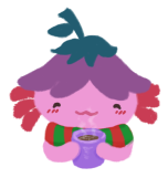 Xiaolong the pink axolotl, holding a cup of hot cocoa, wearing a green and red scarf, looking content.