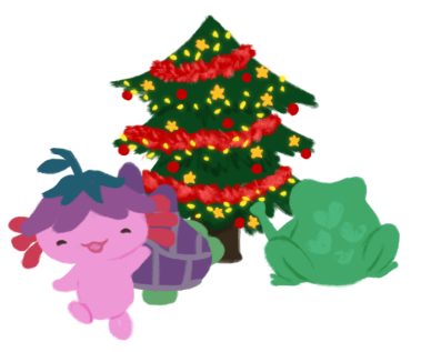 Varian the green Toadshifter and Gen the purple-shelled Tortoise Apothecarist decorating a Christmas tree (already decorated in tinsel, stars, and fairy lights, with Xiaolong the pink axolotl wearing an upside-down purple flower hat at the foreground running towards you, an arm raised in hello.