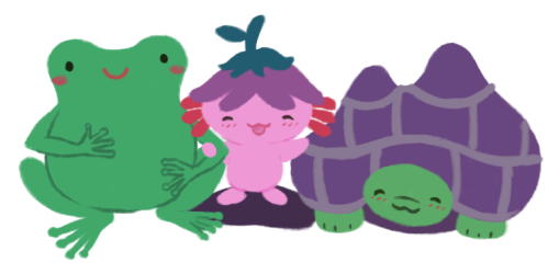 Left to right: Varian the green Toadshifter, linking their arms with Xiaolong the pink axolotl, who has her hand on Gen the purple-shelled tortoise.