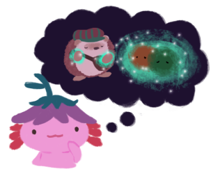 Xiaolong the pink axolotl, thinking with a thought bubble above her head, with Amina healing forest sprites inside the thought bubble.