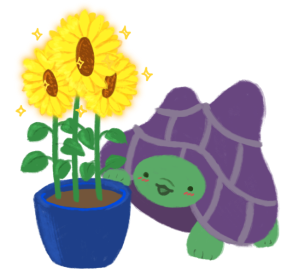 Gen the purple-shelled and green tortoise looking up at magical sunflowers that are glowing and sparkling, growing from a blue pot.