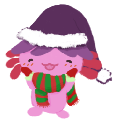 Xiaolong the pink axolotl, wearing a purple Santa hat, a green and red striped scarf, and wearing red mittens, touching her cheeks in delight.