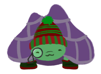 Gen the purple-shelled and green tortoise, wearing a green and red striped beanie, a monocle at his left eye, and wearing green and red boots.