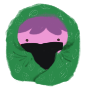 Xiaolong the pink axolotl, wrapped up in a fluffy green blanket while reading a book, with her purple hat peeking out under the blanket.