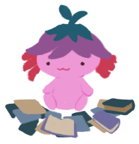 Xiaolong the pink axolotl, wearing an upside-down purple flower hat, sitting on the ground with papers and books around her.