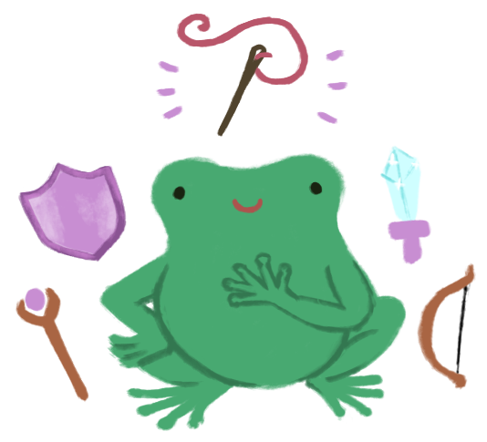Varian the Toadshifter, with a hand over his heart, with a staff, shield, sword, and bow around him. A sewing needle and thread is above his head, lit up for emphasis.