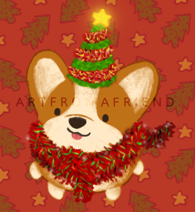 A corgi wrapped in red tinsel, looking up at you, wearing a Christmas tree hat with a glowing yellow star at the top of the tree.