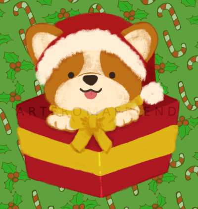 A corgi wearing a Christmas santa hat and a yellow ribbon around its neck, popping up from a red Christmas present box.