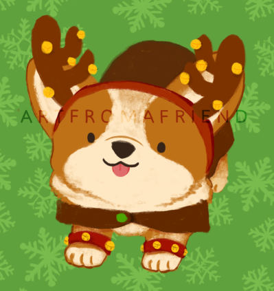 A corgi stretching towards you, wearing reindeer antlers with jingly bells and a brown reindeer costume, with its tongue sticking out.