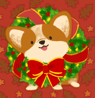A corgi with its head tilted to the left and its tongue sticking out, a green Christmas wreath with ribbons, holly, and Christmas lights, wrapped around its neck.