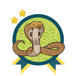 Green and blue award badge with a Indian Cobra in the center, and with two gold stars above the award.