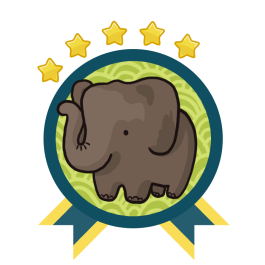 Green and blue award badge with an Asian elephant in the center, and with five gold stars above the award.