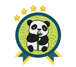 Green and blue award badge with a Giant Panda in the center, and with four gold stars above the award.