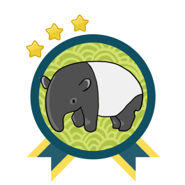 Green and blue award badge with a Malaya Tapir in the center, and with three gold stars above the award.