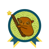 Green and blue award badge with a brown Phillipines Tarsier in the center, and with one gold star above the award.