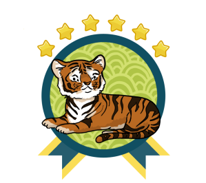 Green and blue award badge with a Bengal Tiger in the center, and with all six gold star above the award.