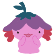 Xiaolong the pink axolotl wearing an upside down flower hat, holding her arms up against her mouth as if she is whispering.