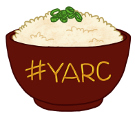 A maroon-red bowl of rice with spring onion/scallions on top. Bowl has text that reads: #YARC.