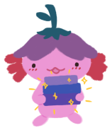 Xiaolong the pink axolotl wearing an upside-down flower hat, smiling and holding up a stack of books.