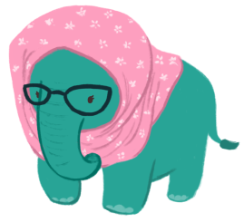 A teal-coloured elephant, wearing thick-rimmed glasses and a pink headscarf with a floral pattern.