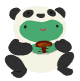 Varian the toad wearing a panda costume, holding onto a red cup with tea.