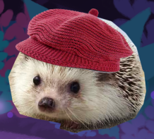 Photorealistic image of a hedgehog wearing a red beanie cap.