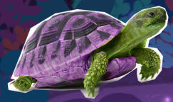 Photorealistic image of a green tortoise in its purple shell.