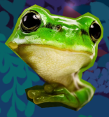 Photorealistic image of a green frog.