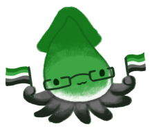 Green, white, and grey squid wearing rectangular glasses, holding the aromantic flag, and smiling at you.