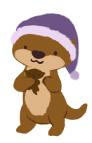 An illustration of an otter standing on its hind legs, holding a stuffed otter to its chest, wearing a purple pajama cap.
