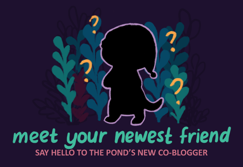 Text: Meet your newest friend: say hello to the pond's new co-blogger. Image: A silhouette of a bipedal animal, with question marks floating around the silhouette.
